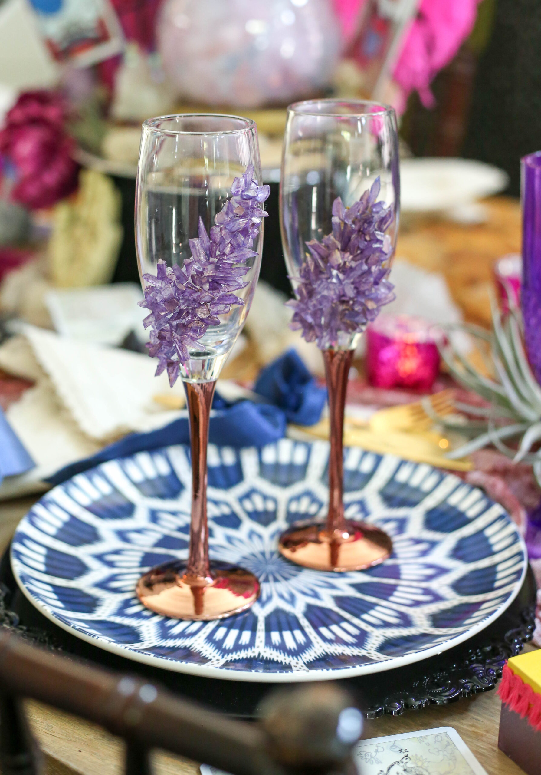 geode champagne glass DIY