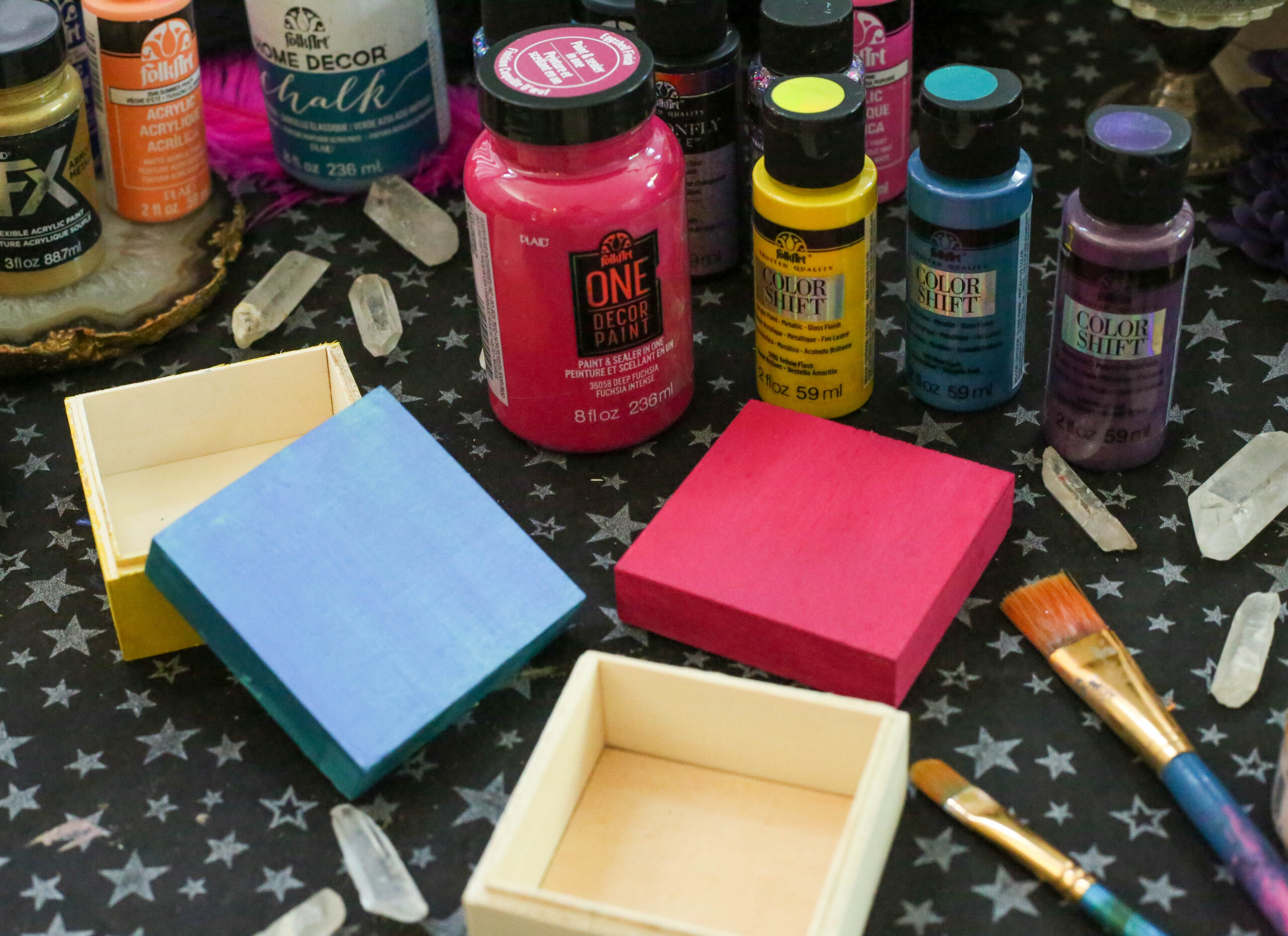FolkArt paints used to craft halloween favor boxes for a fortune teller party