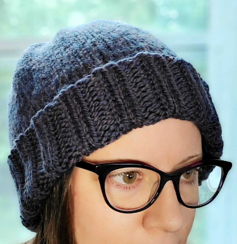Simple Bulky Slouch Beanie with folded brim