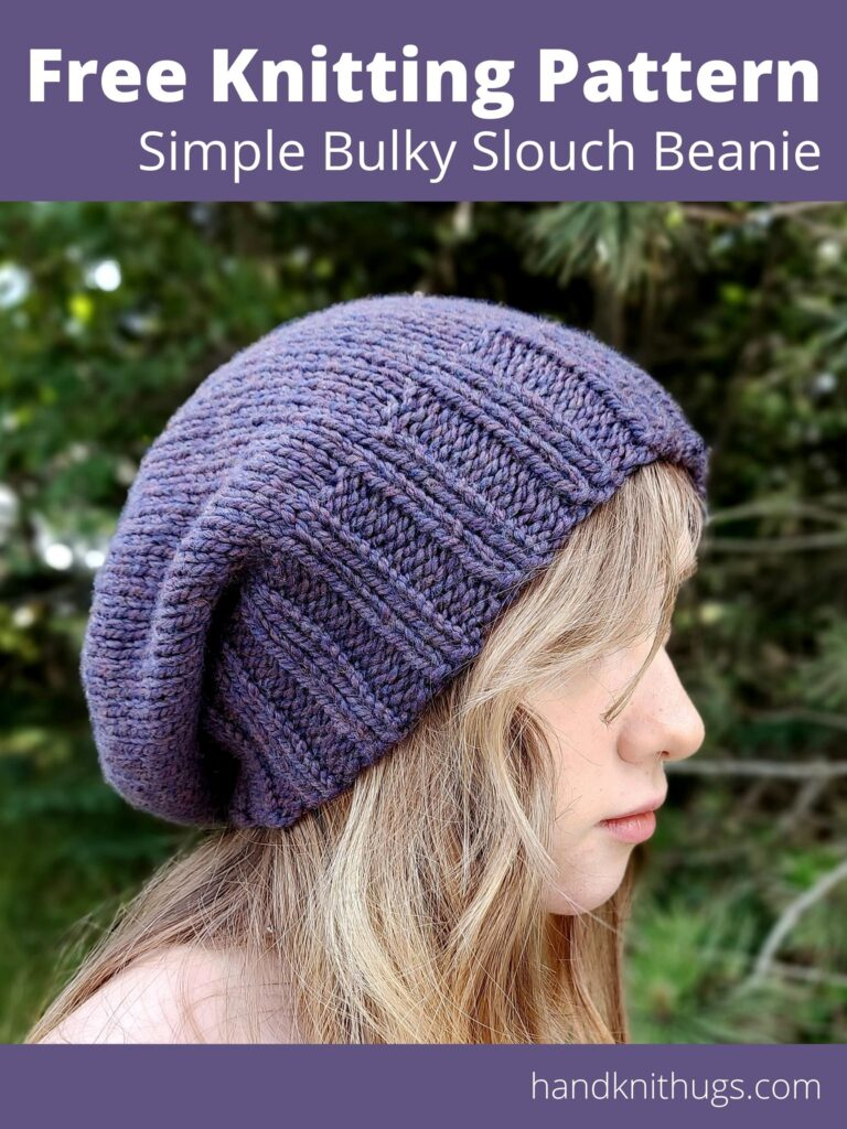 Free Knitting Pattern - Simple Bulky Slouch Beanie by Handknit Hugs - side view ad