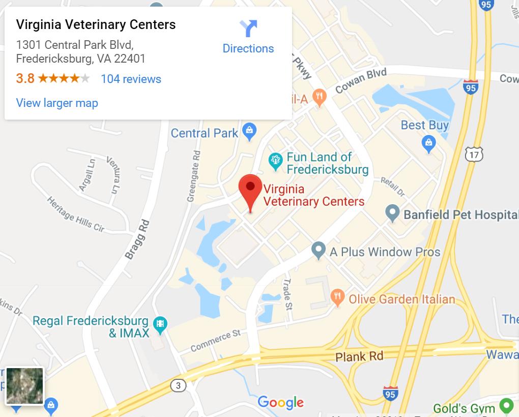 Map to Virginia Veterinary Centers in Fredericksburg, VA