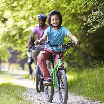 Family riding bikes.