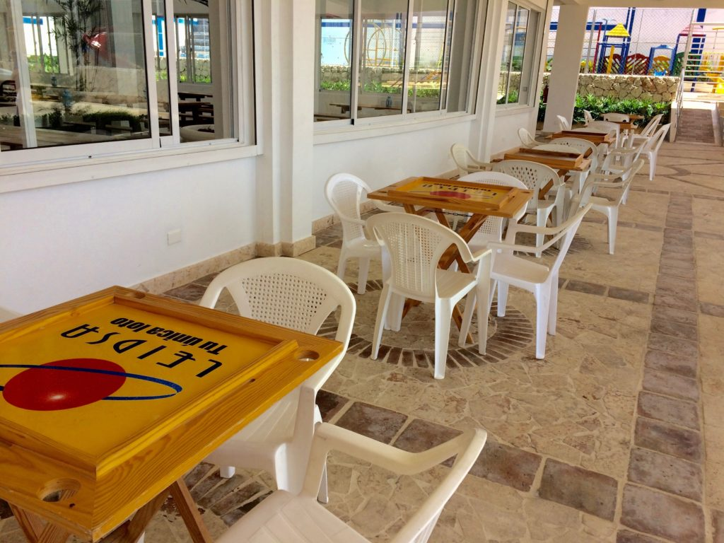 Domino tables at newly opened gas station