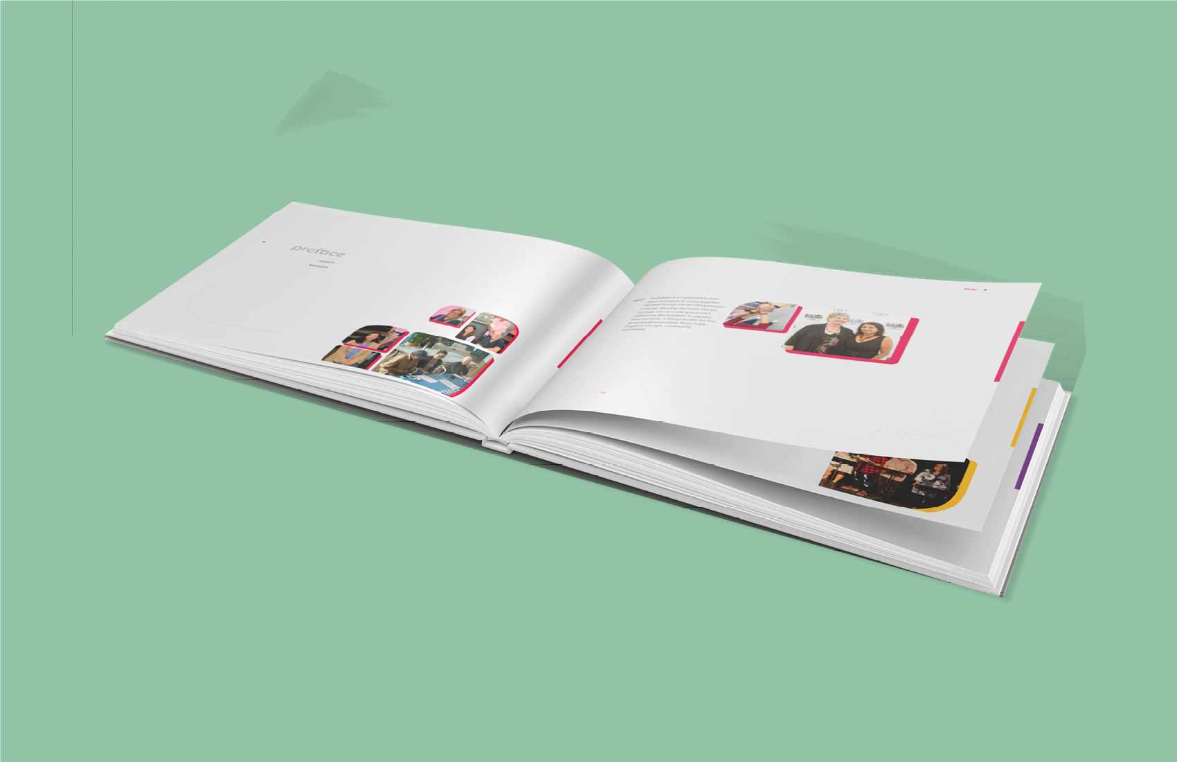 A mockup of the process book made for the refreshed identity for Playbuilders of Hawaiʻi.