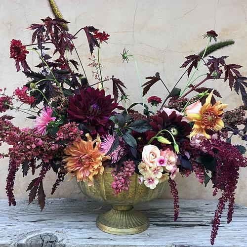 burgundy peach dahlia flower arrangement
