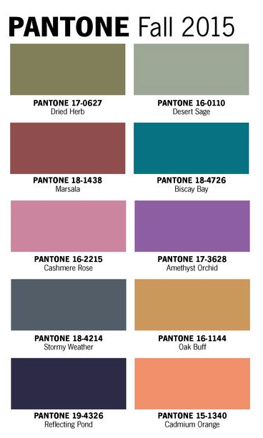 Pantone Fall 2015 Color Trends