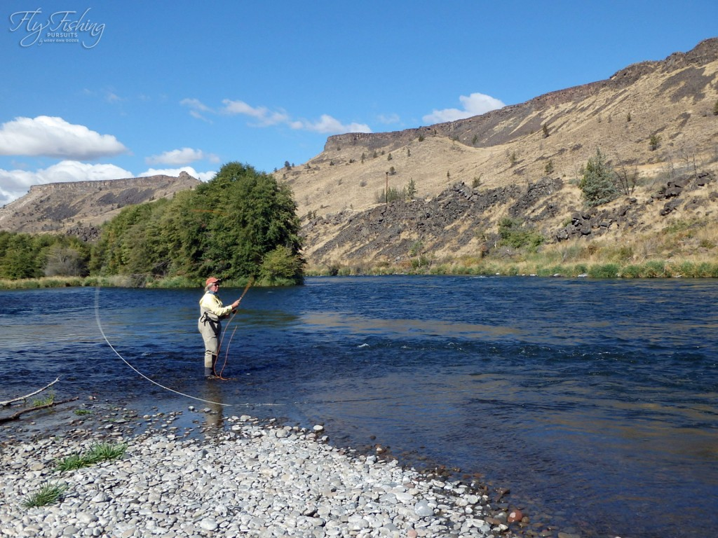 Chasing that steelhead with my bamboo switch rod