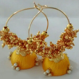 yellow hoop rings with loreals