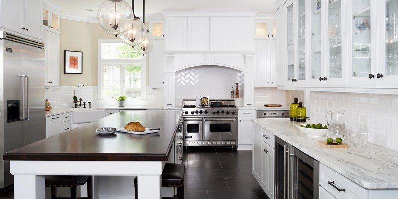 Kitchen remodeling in Northern VA, DC, MD, white cabinets, island, marble counters, subway tile