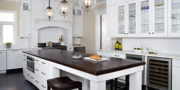 Kitchen remodeling in Northern VA, MD, DC, white cabinets, marble counters, island, stainless steel appliances