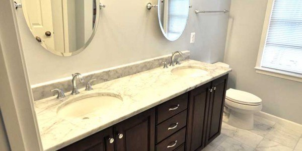 Master bathroom remodel in Northern VA, MD, DC; marble counters & flooring