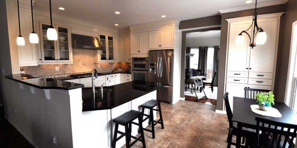Kitchen remodeling in Northern Virginia, Maryland, & Washington, DC; eat-in kitchen; white cabinets; stainless steel appliances;