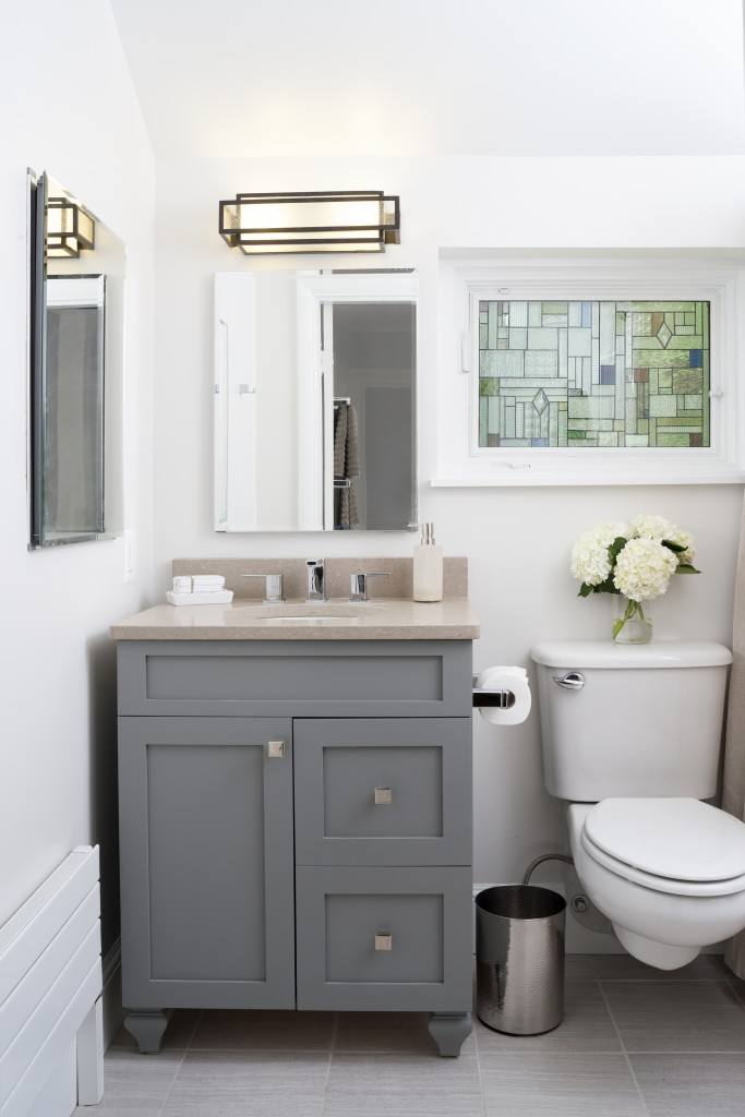 Bathroom remodel in Northern VA, MD, DC; Shaker style cabinets; stained glass window