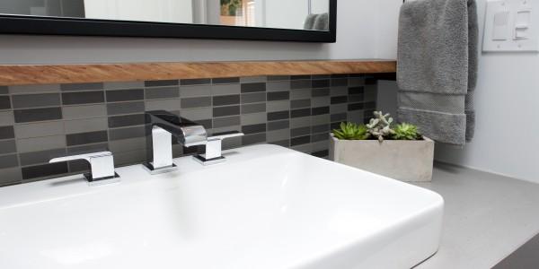 Bathroom remodel in Northern VA, MD, DC; floating vanity; under-cabinet storage