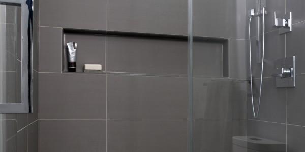 Bathroom remodel in Northern VA, MD, DC; rainfall shower; tile shower