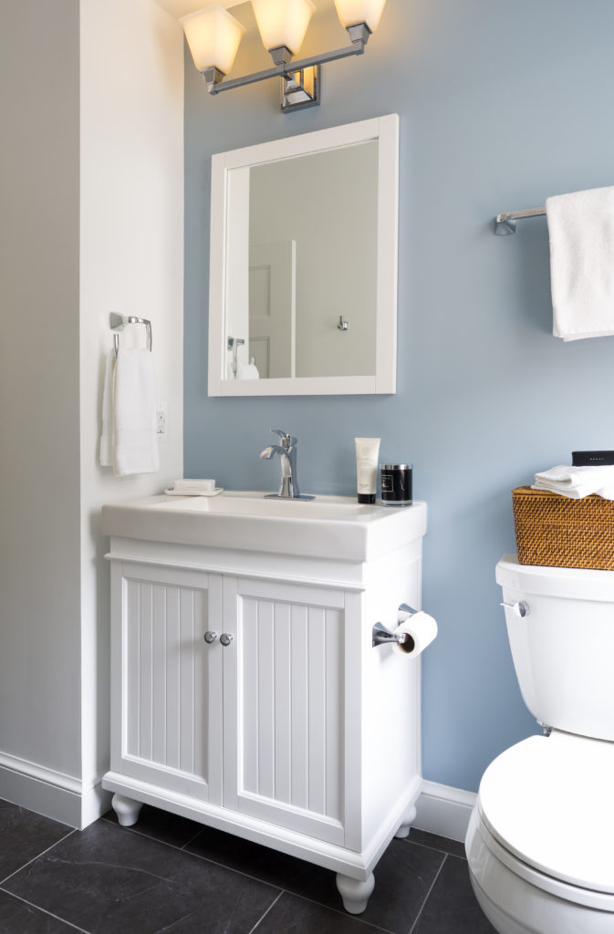 Bathroom remodel in Northern VA, MD, DC; white cabinets