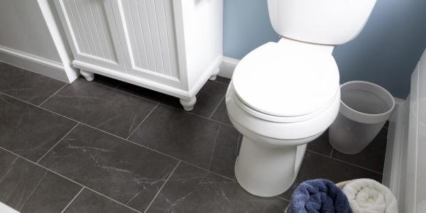 Bathroom remodel in Northern VA, MD, DC; white cabinets; slate tile floor