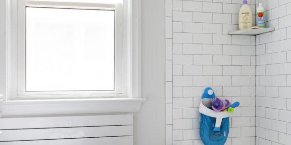 Bathroom remodel in Northern VA, MD, DC; white cabinets; slate tile floor, subway tile shower