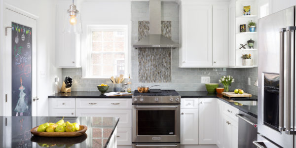 Kitchen remodel in Northern VA, MD, DC; subway tile, white cabinets, stainless steel appliances, peninsula