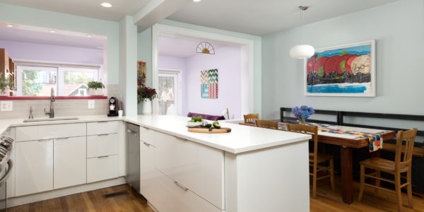 Kitchen remodeling in Northern VA, MD, DC; white cabinets; subway tile; stainless steel appliances