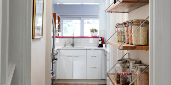 Kitchen remodeling in Northern VA, MD, DC; white cabinets; subway tile; stainless steel appliances; pantry