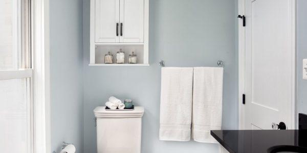 Vintage Inspired Bathroom Renovation Herndon Virginia, hexagon tiles, white subway tiles, oil-rubbed bronze hardware