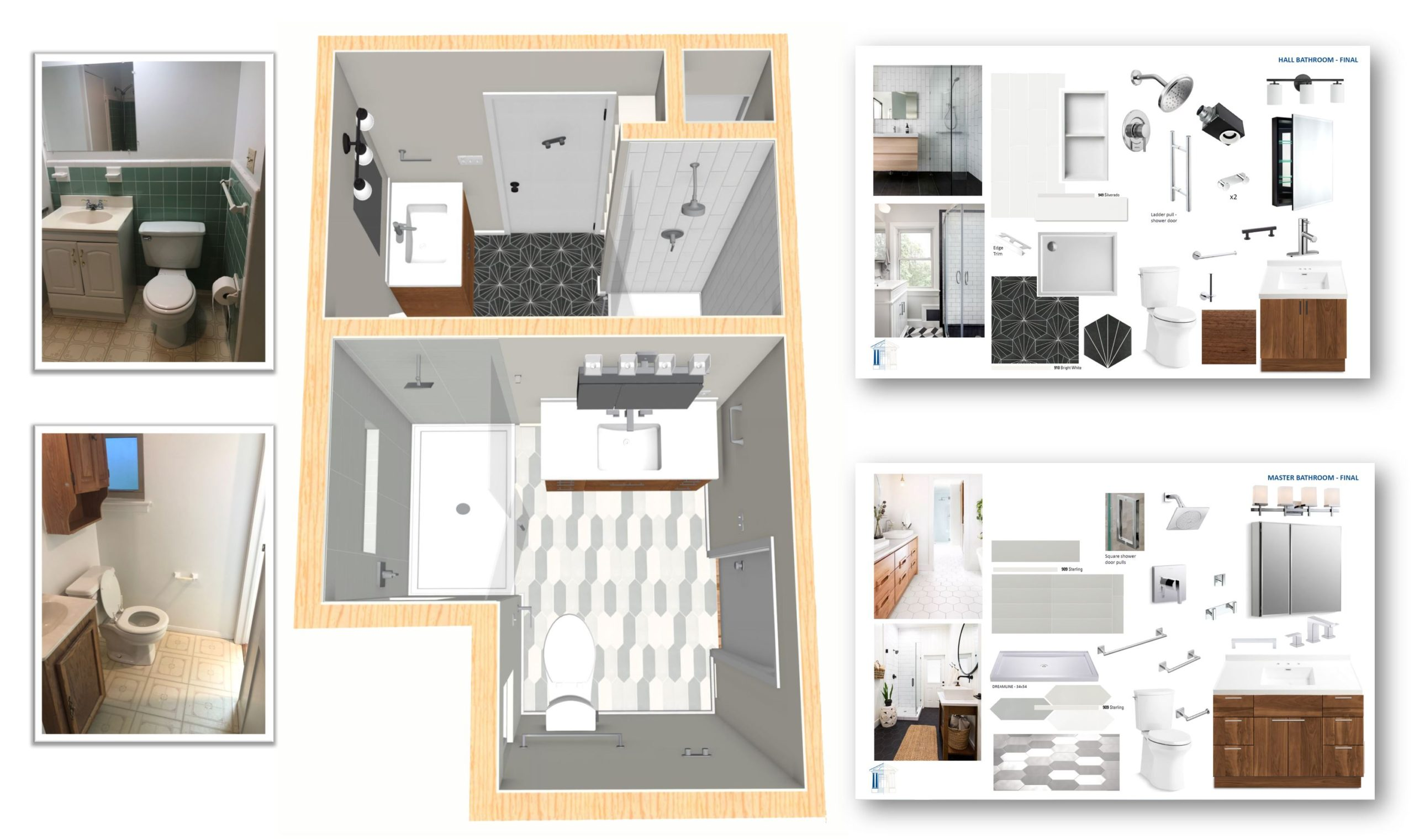 Collage of bathroom before and during remodeling project pieces
