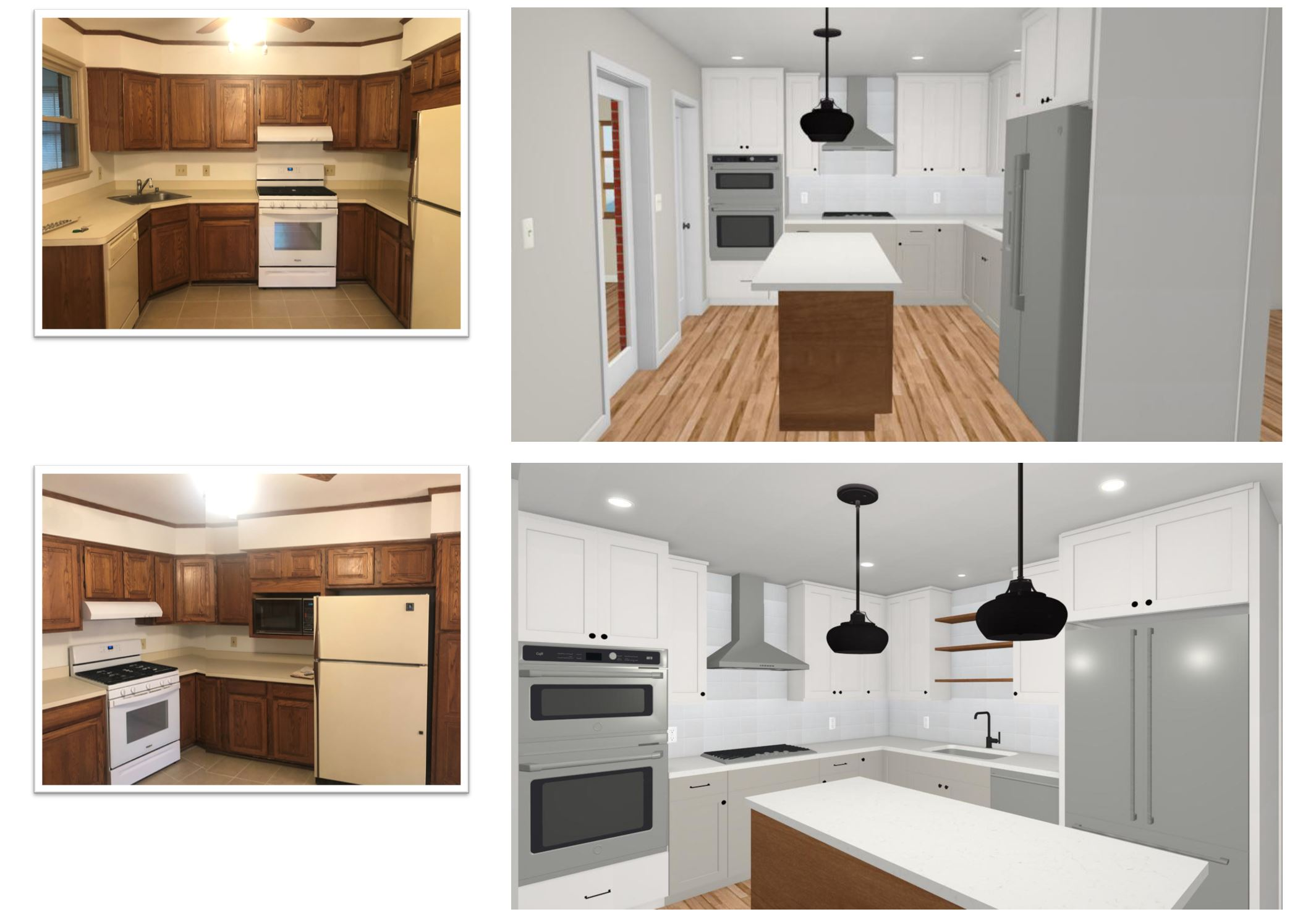 Collage of before and after photos of kitchen remodeling project