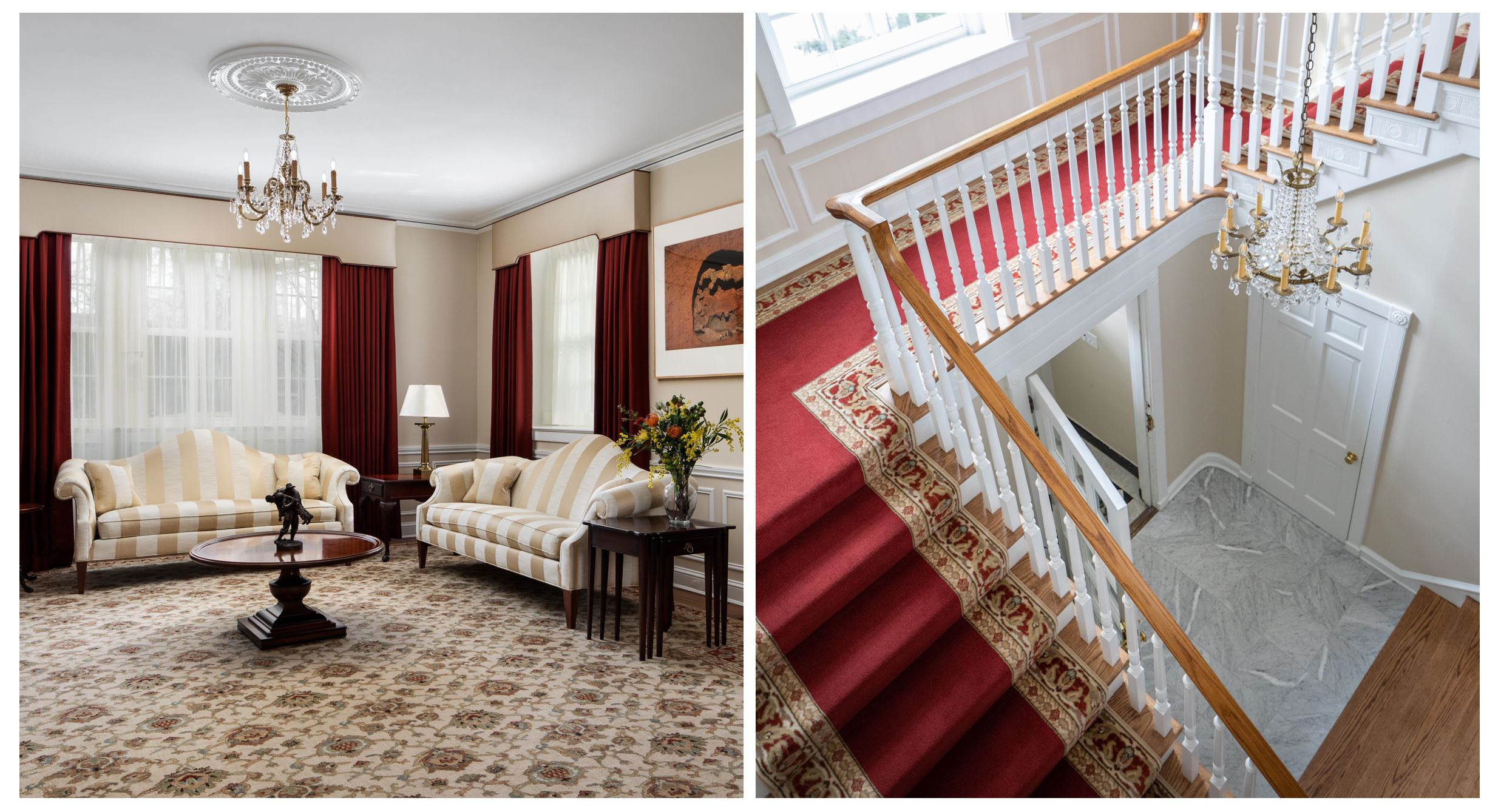 Collage of home remodeling projects with burgundy and gold designs