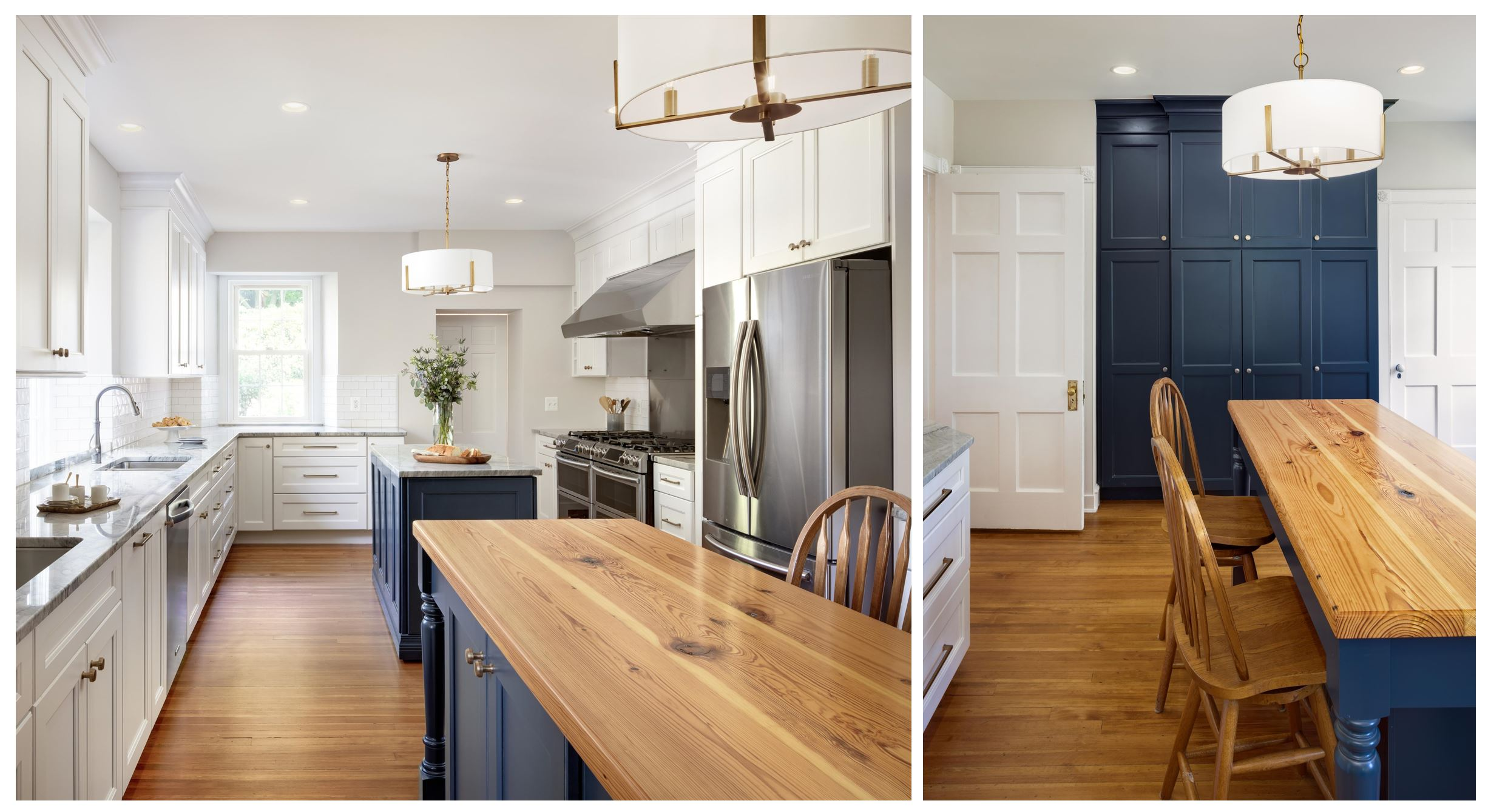 Collage of navy, white, and wooden detailed kitchen remodeling project