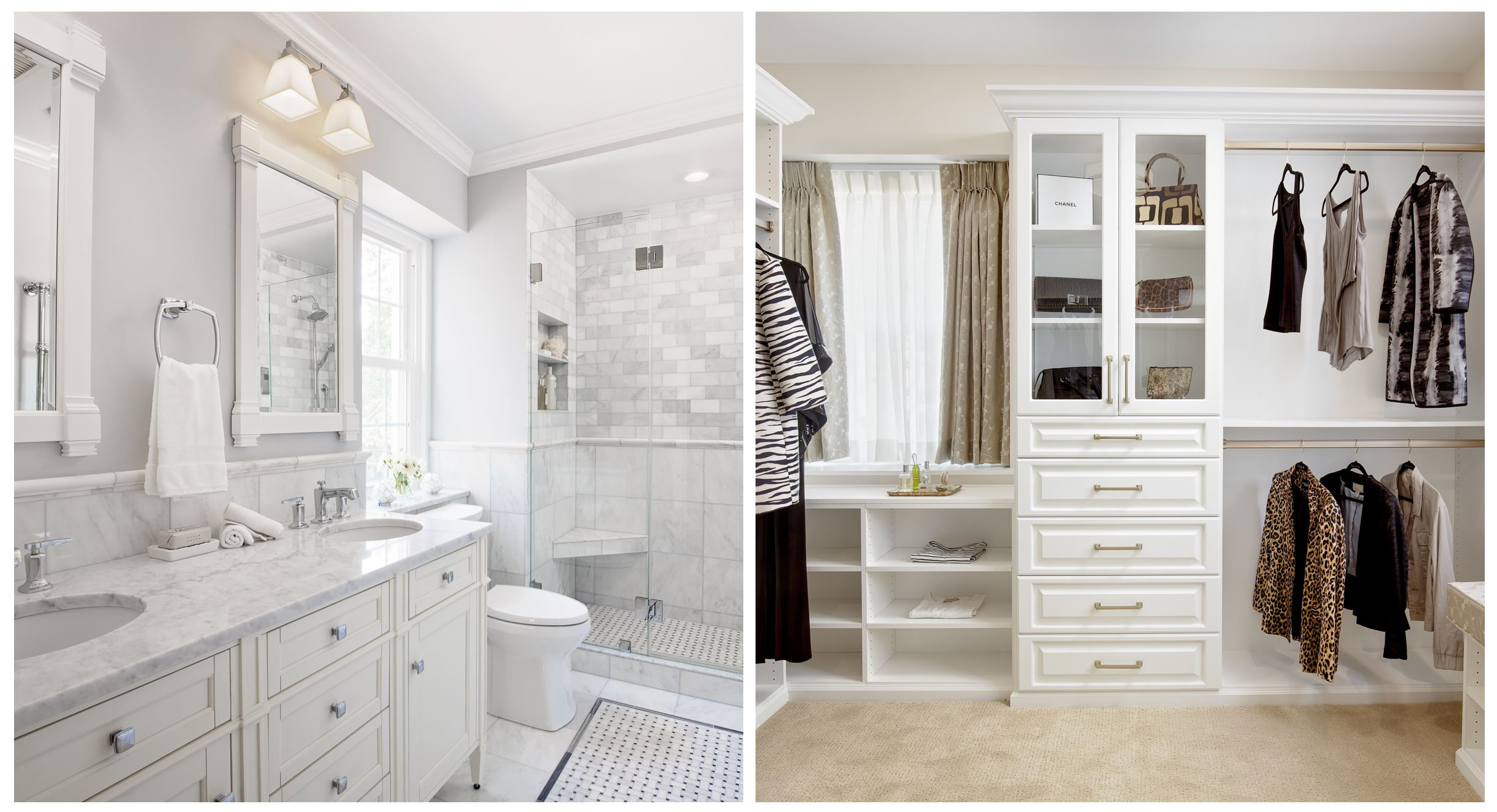 Clean white designed bathroom and closet collage of remodeling projects