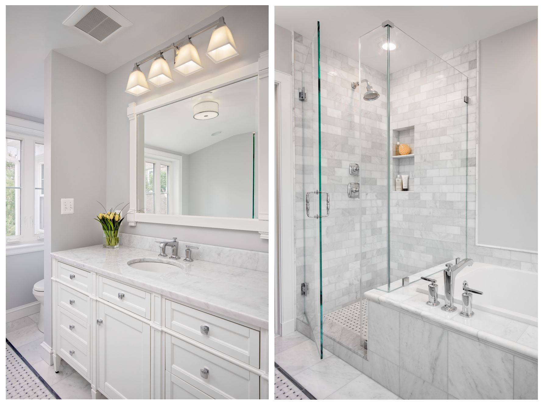 Clean white and silver bathroom remodeling collage