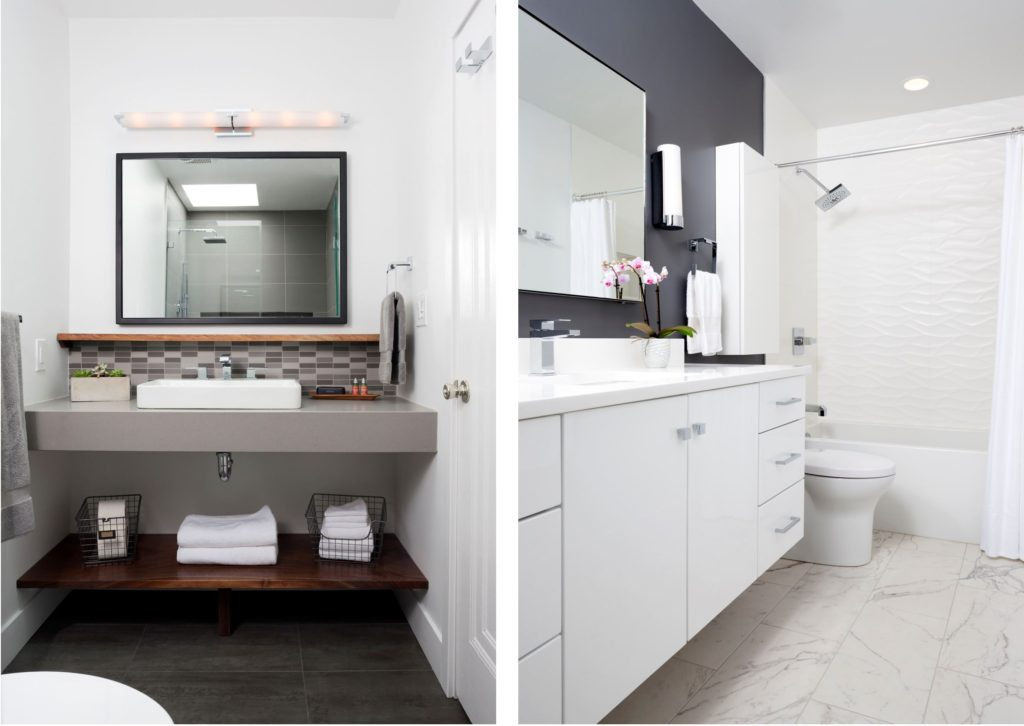 Clean and sleek white and gray bathroom remodeling project