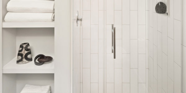 Clean colors and design in remodeled bathroom