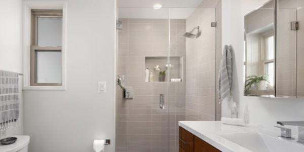 Renovated bathroom with neutral tones