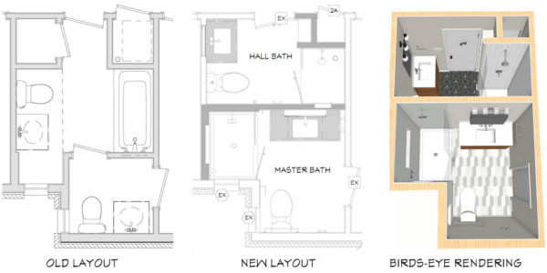 bathroom remodeling layout updates blueprint and rendering