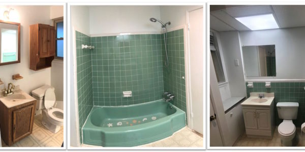 bathroom remodeling collage of before images