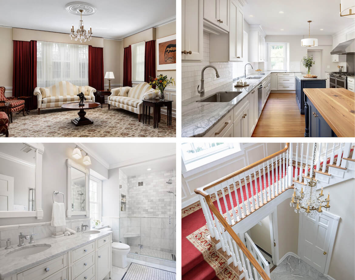 Collage of home remodeling projects including living room, kitchen, bathroom, and hallway