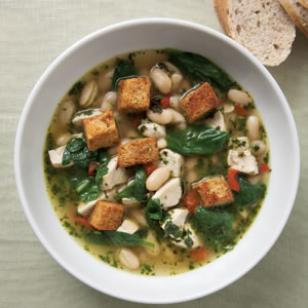 Chicken & Spinach Soup with Fresh Pesto