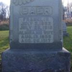 Franklin & Almira Baer graves, St. James Cemetery, Jenner Twp., PA