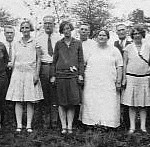 Lee family (L-R): Charlie & Annie Krause, Simon & Florence Lee, ?, Clarence & Sadie King, ?, Clyde & Lizzie Schrader