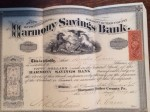 $500 Stock certificate for Harmony Savings Bank, owned by Amelia and signed by President Alfred Pearce.