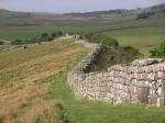 Roman-built Hadrian's Wall stretching 80 miles through the British Midlands