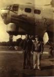 """B-17 (""""How Soon"""") & Ball turret gunner Richard O. Miller (right) England 1944"""