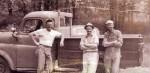 "Miller Cement Contracting crew: Rev. Don Speigle, ""RO"" Miller, and Rev. Harry Blough c. 1950's"