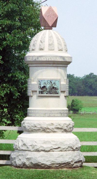 Monument: PA 63rd Reg. Gettysburg Battlefield