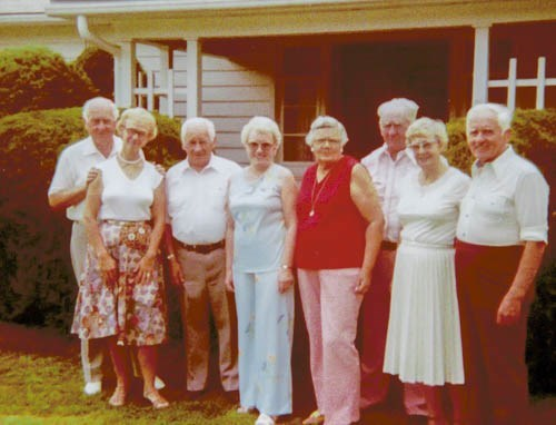 Wesley & Bessie boys with wives: Dale & Helen, Ralph & Ruth, Belle & Walt, Esther & Howard (c. 1975)
