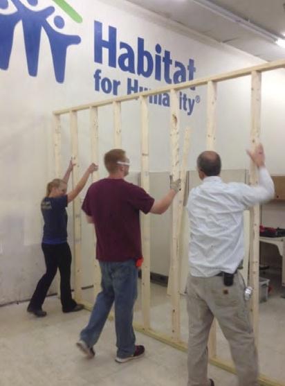 Students using recycled materials at Habitat center, Christiansburg, VA