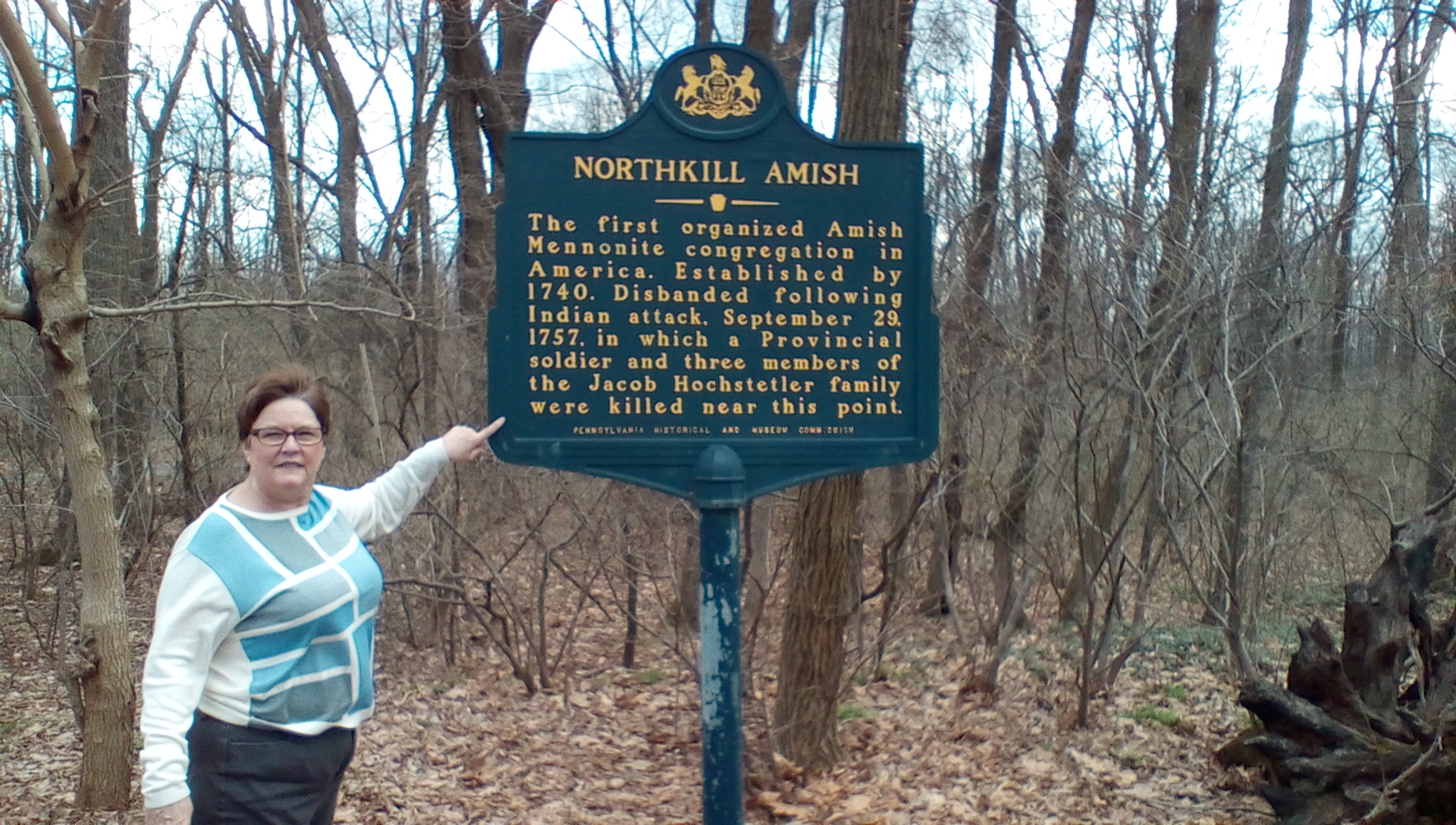 Susan Miller Pearce at PA historical markers, Shartlesville (2016)