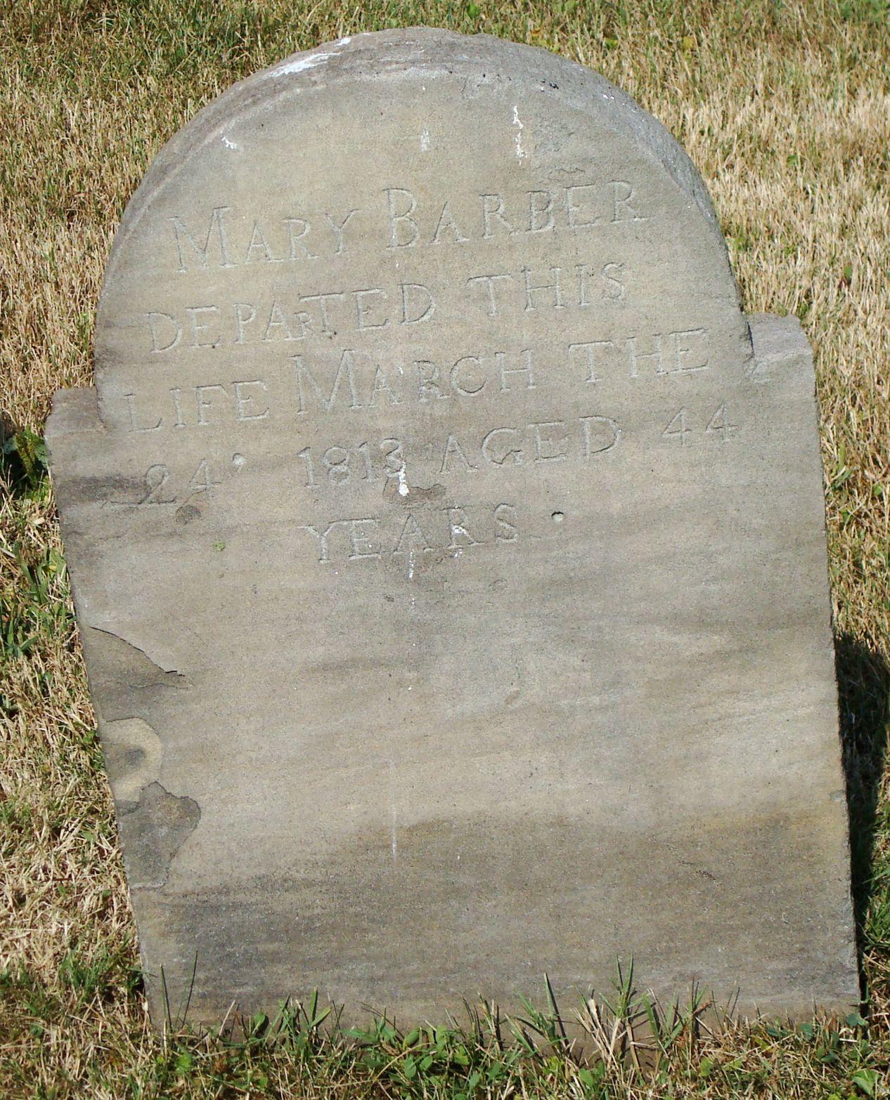 Mary Barber stone South Plain Grove Cemetery